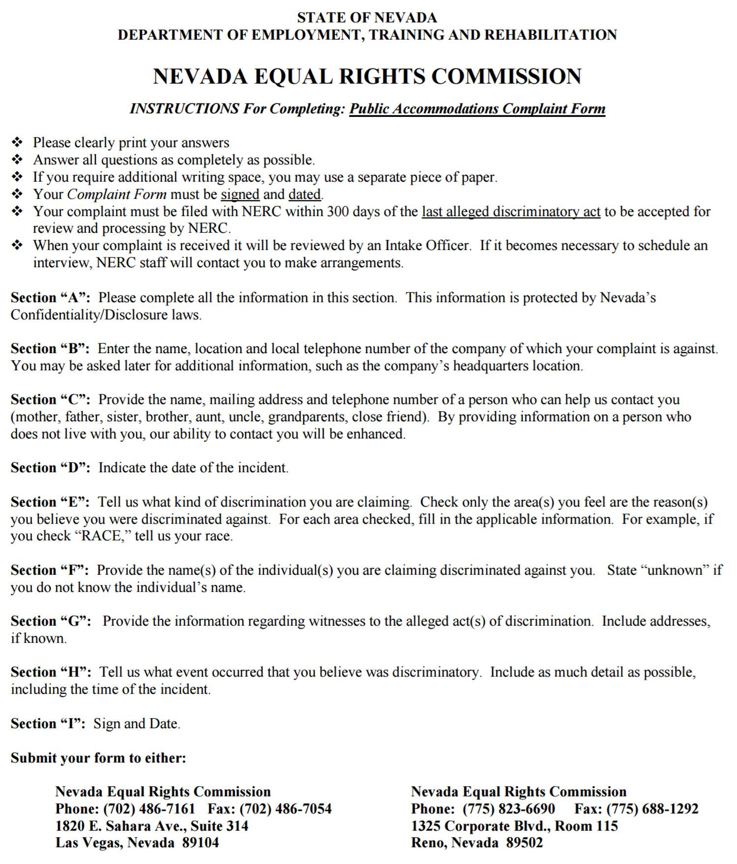 Housing Discrimination Complaint Form